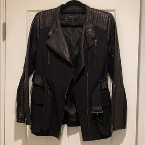 BCBG black jacket with leather accents